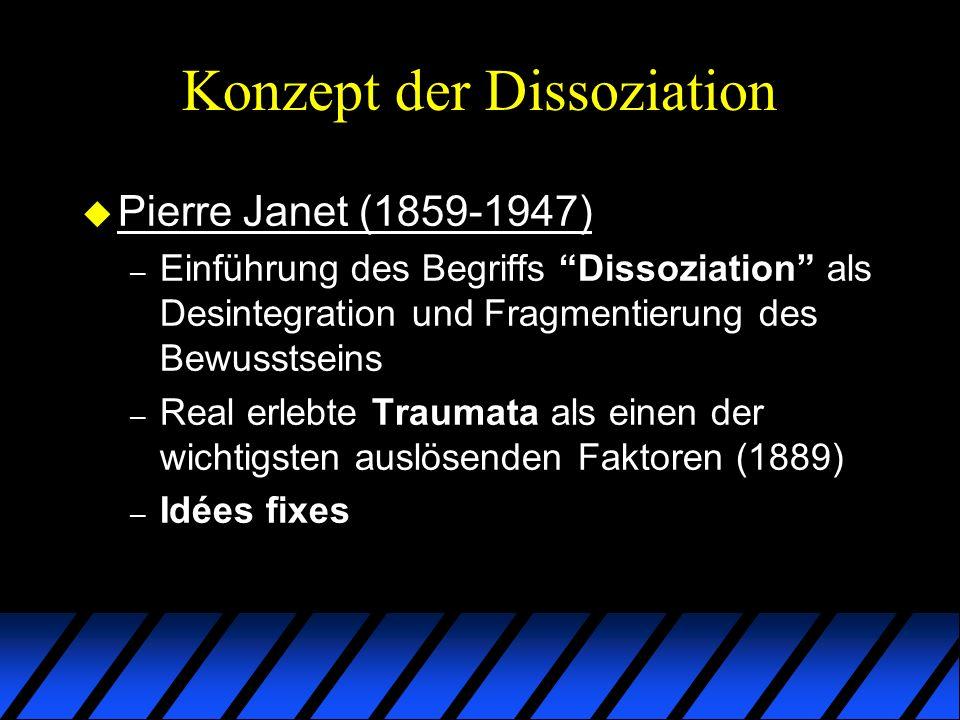 Nicht näher bezeichnete Dissoziative Störungen Typen – DIS-ähnlich, jedoch ohne eindeutig abgrenzbare Teilpersönlichkeiten (Typ 1a) – DIS-ähnlich, klinische relevante Amnesien fehlen (Typ 1b) – Derealisation ohne begleitende Depersonalisation (Typ2) – Dissoziative Trancestörung (Typ4) – Zustände von Dissoziation bei Personen, dieGehirnwäsche oder Indoktrination in Gefangenschaft ausgesetzt waren (Typ3)