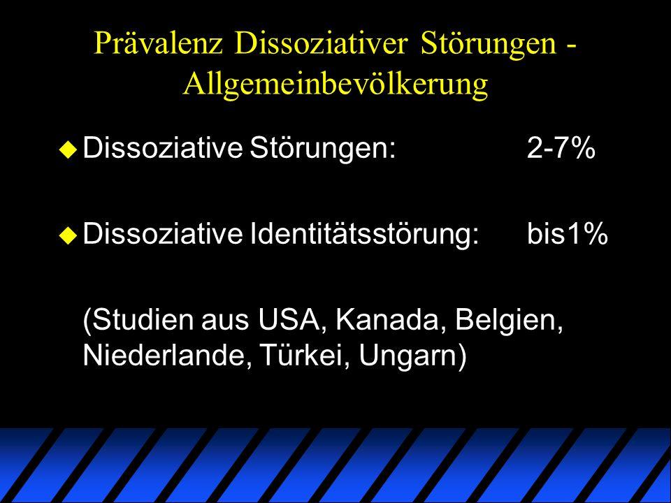 Prävalenz Dissoziativer Störungen - Allgemeinbevölkerung u Dissoziative Störungen:2-7% u Dissoziative Identitätsstörung:bis1% (Studien aus USA, Kanada