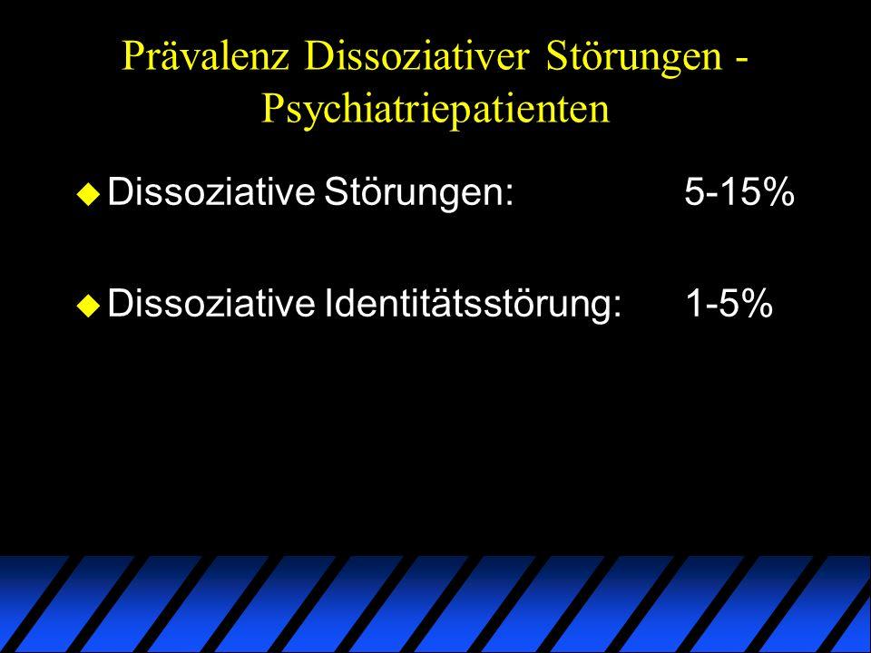 Prävalenz Dissoziativer Störungen - Psychiatriepatienten u Dissoziative Störungen:5-15% u Dissoziative Identitätsstörung:1-5%