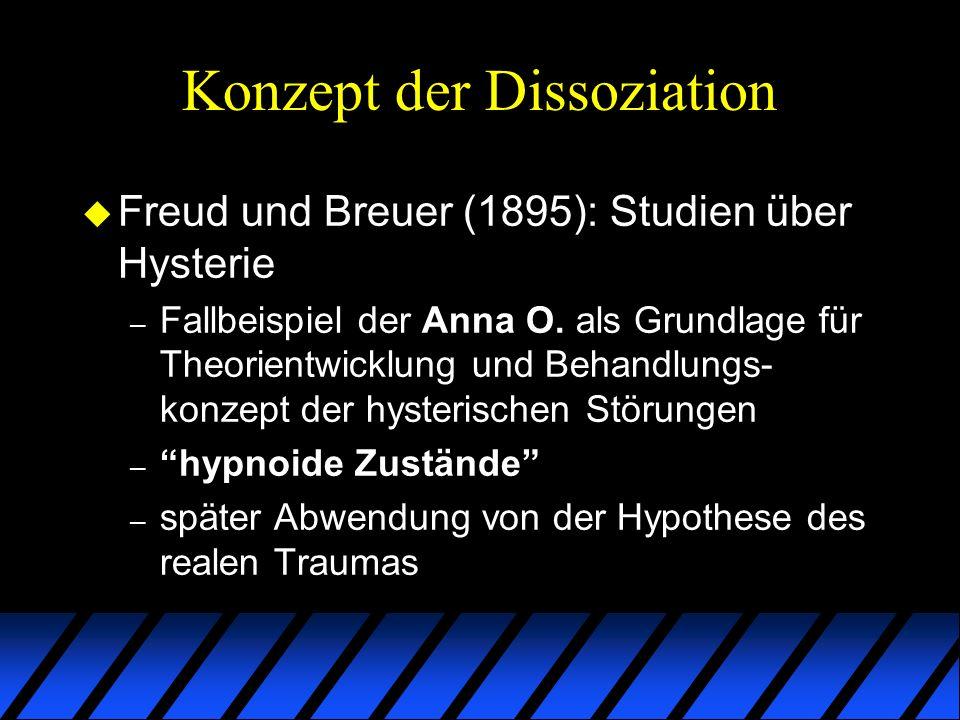 Konzept der Dissoziation u Janet versus Freud – Freud: dissoziative Störungen als psychodynamisches Ergebnis aktiver mentaler Verdrängungsprozesse (Hysterie als Konversion) – Janet: passive mentale Prozesse, die auf autoregulative (hypnoide) Verarbeitung traumatischer Erfahrungen rückschliessen lassen (Hysterie als Dissoziation)