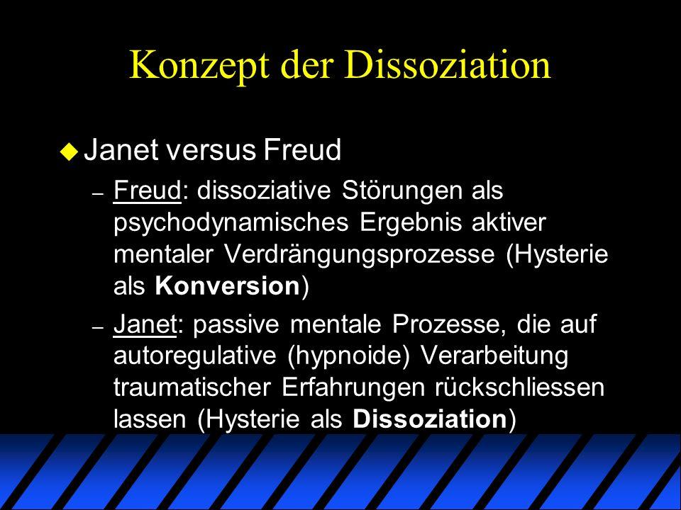 Konzept der Dissoziation u DSM und ICD – Kontroverse spiegelt sich auch in den über die Jahre wiederholt wechselnden Klassifizierungen der Hysterie als Konversion oder Dissoziation wider – Dissoziative Identitätsstörung erstmals im DSM-III (1980) – posttraumatische Belastungsstörung erstmals im DSM-III-R (1987)