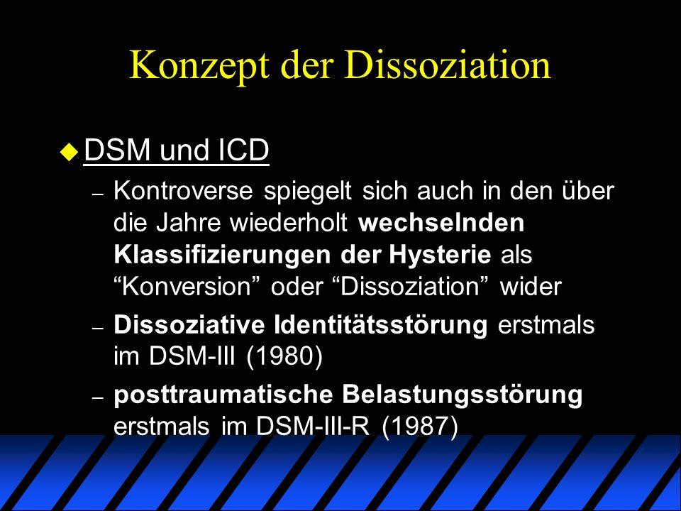Dissoziative Identitätsstörung - Behandlung 4 Phasen u Aufbau der therapeutischen Beziehung und Stabilisierung u Förderung der Kommunikation zwischen den Teilpersönlichkeiten u Traumabearbeitung und Integration der Teilpersönlichkeiten u postintegrative Psychotherapie Kluft, 1999