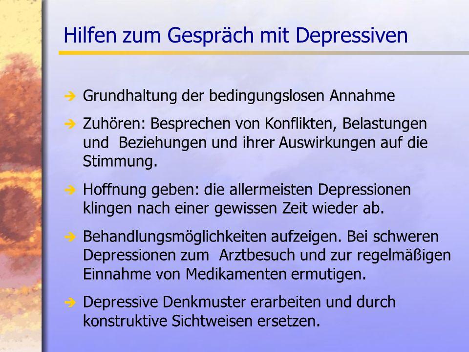 Hilfen zum Gespräch mit Depressiven Grundhaltung der bedingungslosen Annahme Zuhören: Besprechen von Konflikten, Belastungen und Beziehungen und ihrer Auswirkungen auf die Stimmung.