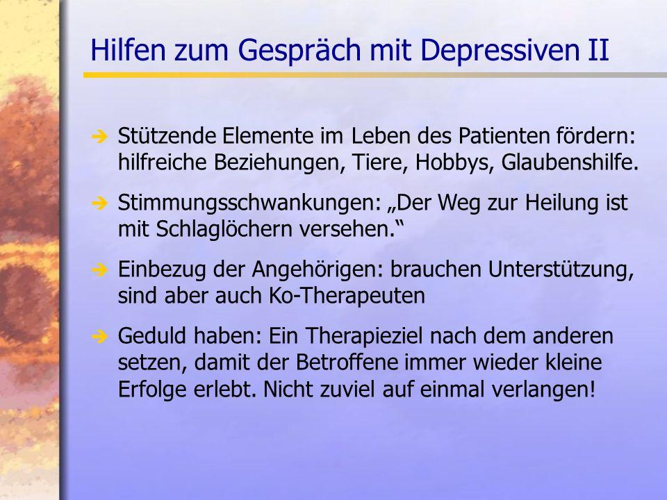 Hilfen zum Gespräch mit Depressiven II Stützende Elemente im Leben des Patienten fördern: hilfreiche Beziehungen, Tiere, Hobbys, Glaubenshilfe.