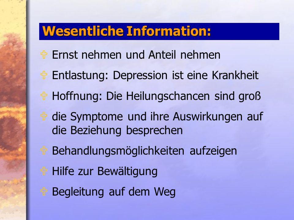 Wesentliche Information: UErnst nehmen und Anteil nehmen UEntlastung: Depression ist eine Krankheit UHoffnung: Die Heilungschancen sind groß Udie Symptome und ihre Auswirkungen auf die Beziehung besprechen UBehandlungsmöglichkeiten aufzeigen UHilfe zur Bewältigung UBegleitung auf dem Weg
