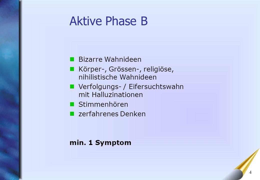 5 Veränderungen vor der akuten Erkrankung Einschränkungen in folgenden Bereichen A = Selbstversorgung B = Vermind.