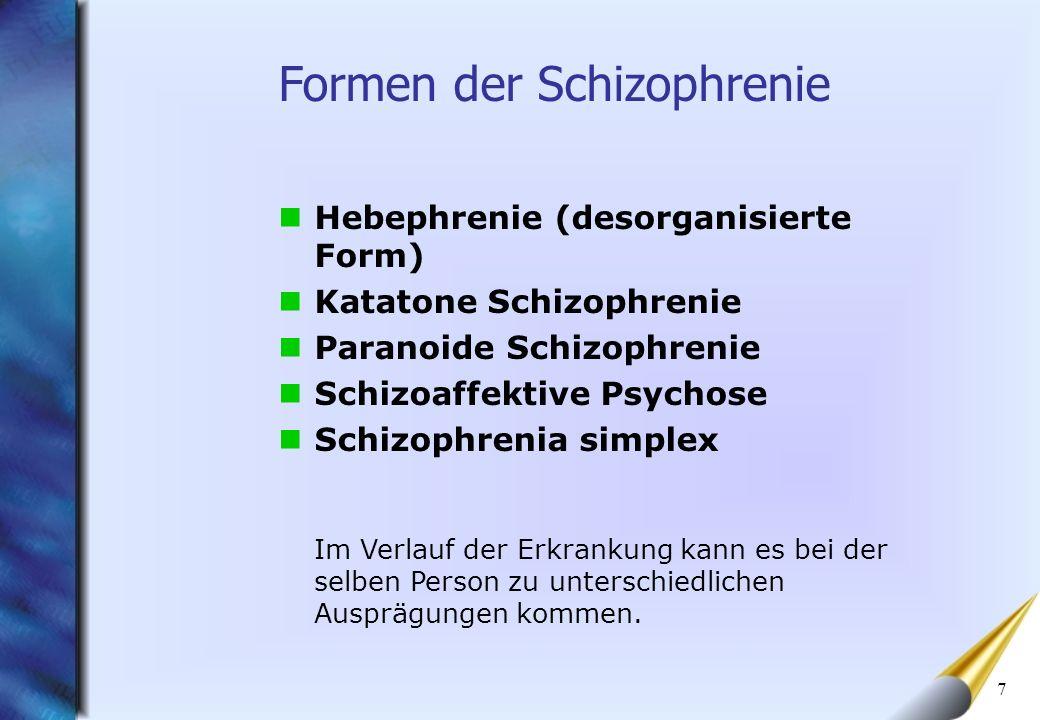 7 Hebephrenie (desorganisierte Form) Katatone Schizophrenie Paranoide Schizophrenie Schizoaffektive Psychose Schizophrenia simplex Formen der Schizoph