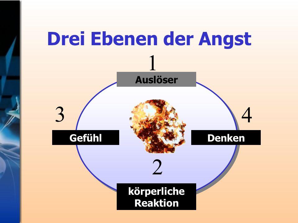Auslöser Drei Ebenen der Angst körperliche Reaktion DenkenGefühl 3 2 1 4