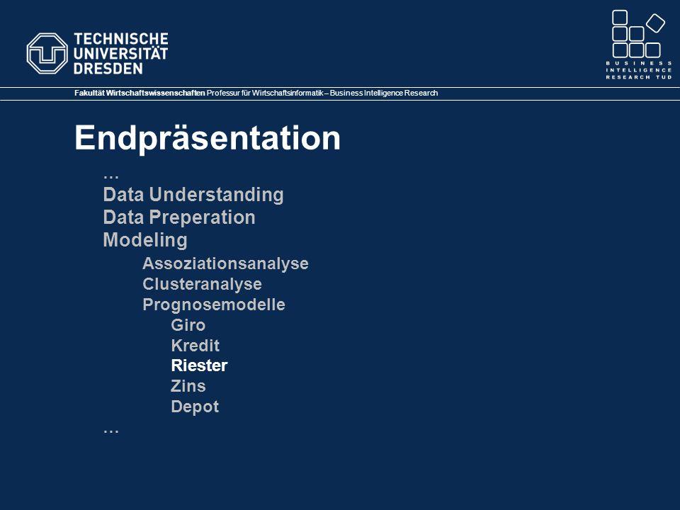 Fakultät Wirtschaftswissenschaften Professur für Wirtschaftsinformatik – Business Intelligence Research Endpräsentation … Data Understanding Data Prep