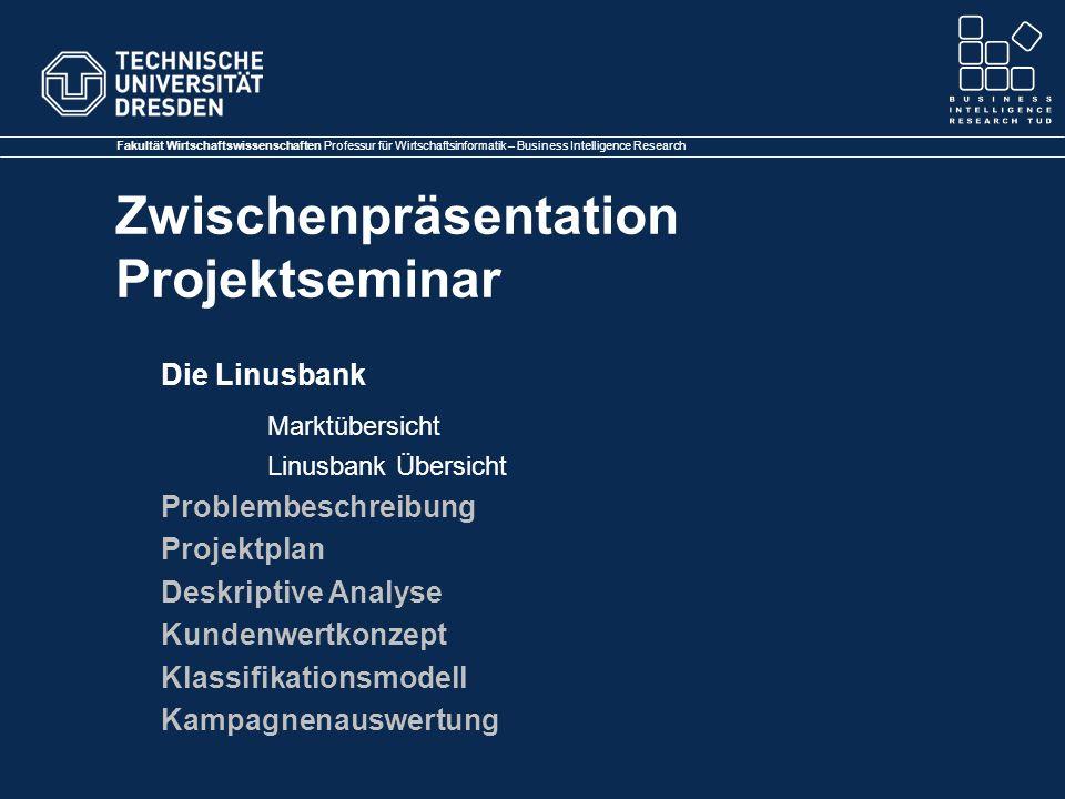 Fakultät Wirtschaftswissenschaften Professur für Wirtschaftsinformatik – Business Intelligence Research Zwischenpräsentation Projektseminar Hier bitte