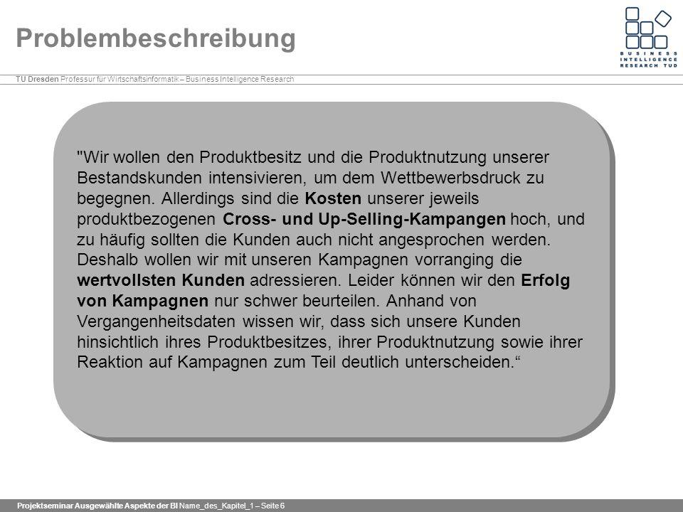 TU Dresden Professur für Wirtschaftsinformatik – Business Intelligence Research Projektseminar Ausgewählte Aspekte der BI Name_des_Kapitel_1 – Seite 6