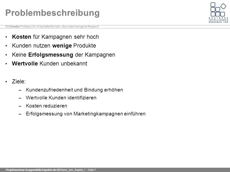 TU Dresden Professur für Wirtschaftsinformatik – Business Intelligence Research Projektseminar Ausgewählte Aspekte der BI Name_des_Kapitel_1 – Seite 7
