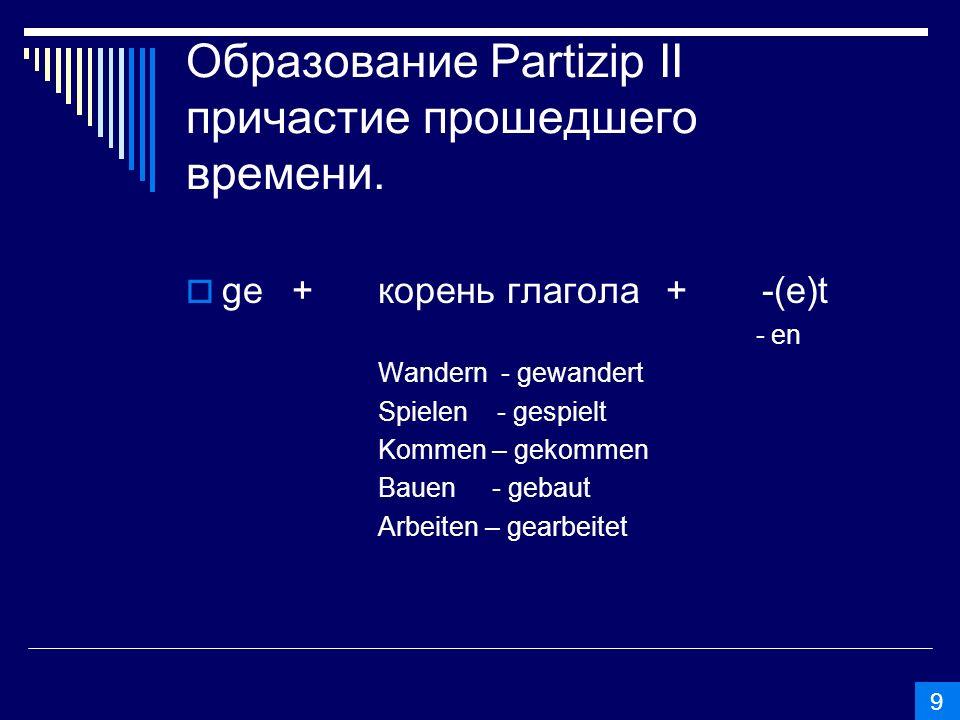 Запомни.Без ge образуются: 1. Глаголы на –iren: Studieren - studiert Telefonieren – telefoniert 2.