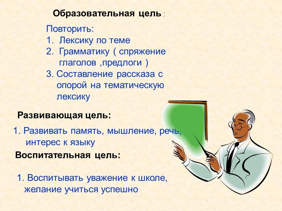 Повторить: 1. Лексику по теме 2. Грамматику ( спряжение глаголов,предлоги ) 3. Составление рассказа с опорой на тематическую лексику Образовательная ц