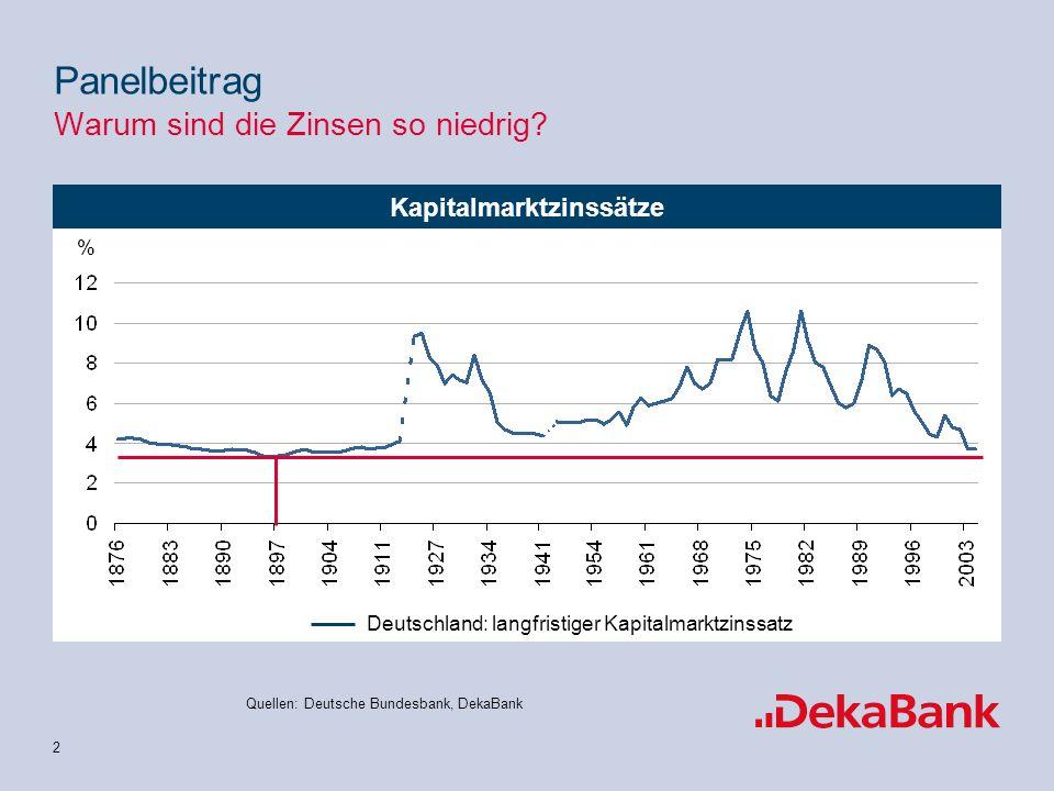 3 Notenbankzinssätze Quellen: Deutsche Bundesbank, DekaBank Panelbeitrag Warum sind die Zinsen so niedrig.