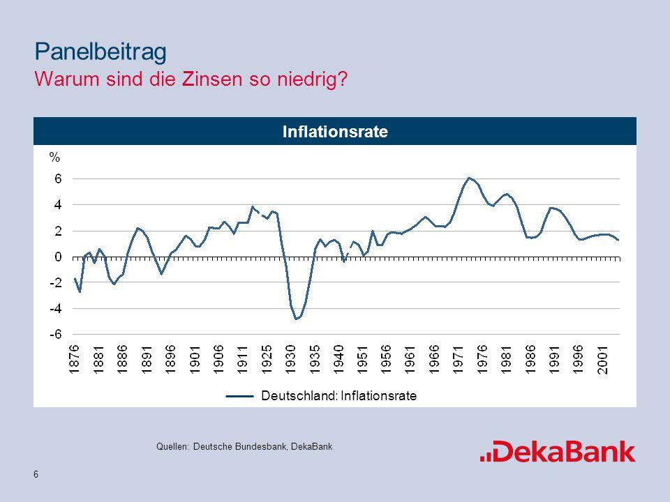 6 Inflationsrate Quellen: Deutsche Bundesbank, DekaBank Panelbeitrag Warum sind die Zinsen so niedrig.