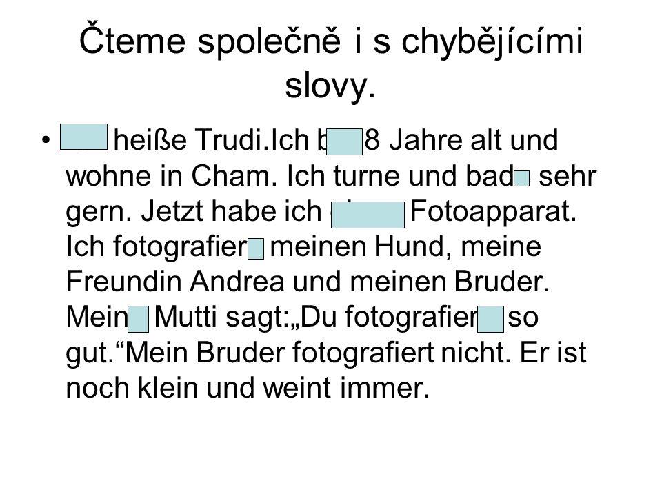 Čteme společně i s chybějícími slovy. Ich heiße Trudi.Ich bin 8 Jahre alt und wohne in Cham.