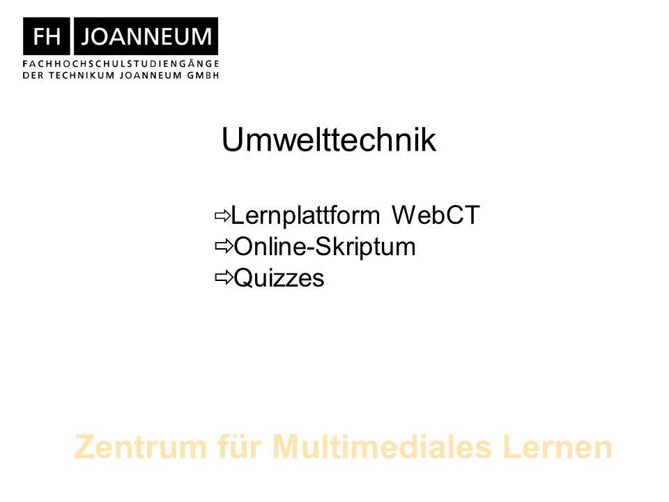 Lernplattform WebCT Online-Skriptum Quizzes Umwelttechnik