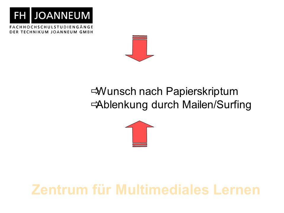 Zentrum für Multimediales Lernen Wunsch nach Papierskriptum Ablenkung durch Mailen/Surfing