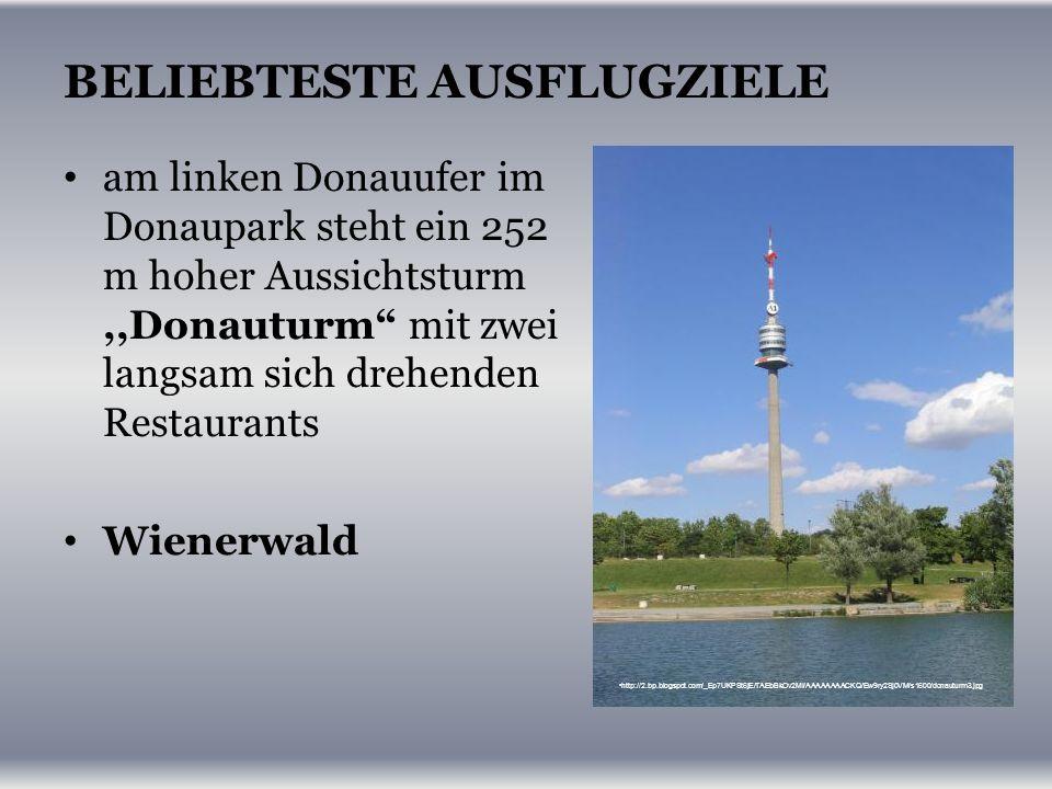 BELIEBTESTE AUSFLUGZIELE am linken Donauufer im Donaupark steht ein 252 m hoher Aussichtsturm,,Donauturm mit zwei langsam sich drehenden Restaurants Wienerwald http://2.bp.blogspot.com/_Ep7UKPSt6jE/TAEbBkOv2MI/AAAAAAAACKQ/Ew9ry2Sj0VM/s1600/donauturm3.jpg