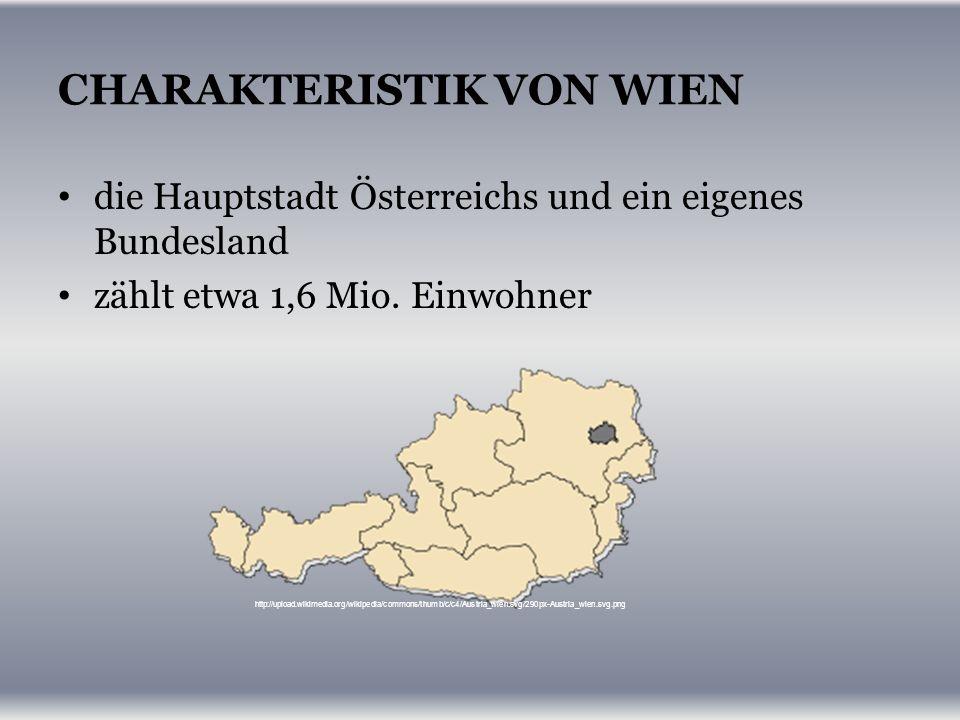 CHARAKTERISTIK VON WIEN die Hauptstadt Österreichs und ein eigenes Bundesland zählt etwa 1,6 Mio.