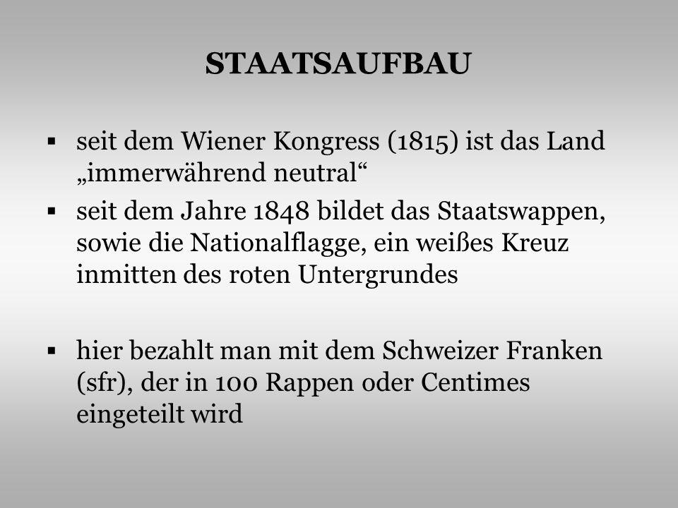 STAATSAUFBAU seit dem Wiener Kongress (1815) ist das Land immerwährend neutral seit dem Jahre 1848 bildet das Staatswappen, sowie die Nationalflagge,