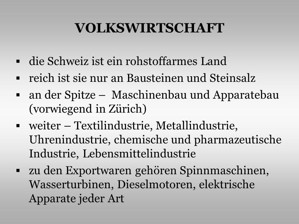 VOLKSWIRTSCHAFT die Schweiz ist ein rohstoffarmes Land reich ist sie nur an Bausteinen und Steinsalz an der Spitze – Maschinenbau und Apparatebau (vor