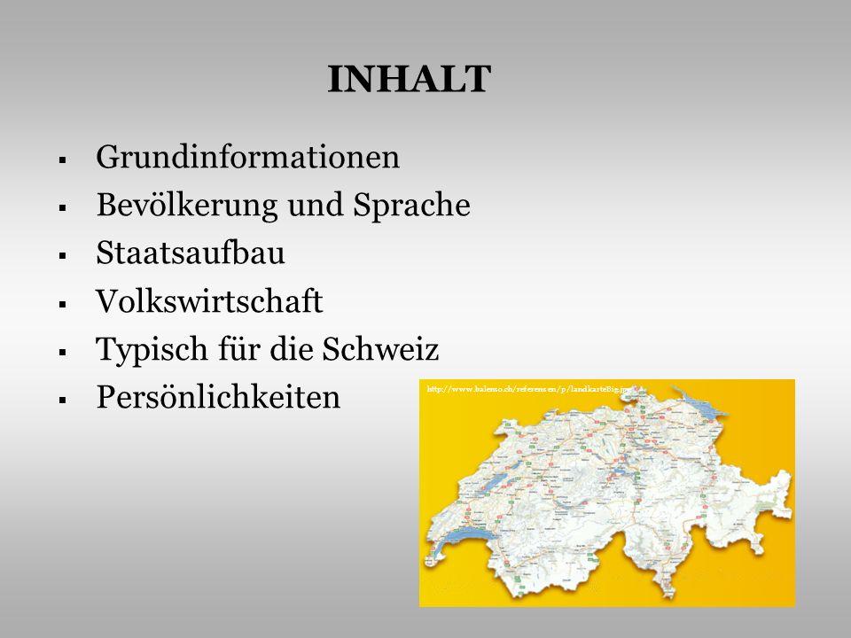 Grundinformationen Bevölkerung und Sprache Staatsaufbau Volkswirtschaft Typisch für die Schweiz Persönlichkeiten INHALT http://www.balenso.ch/referenz