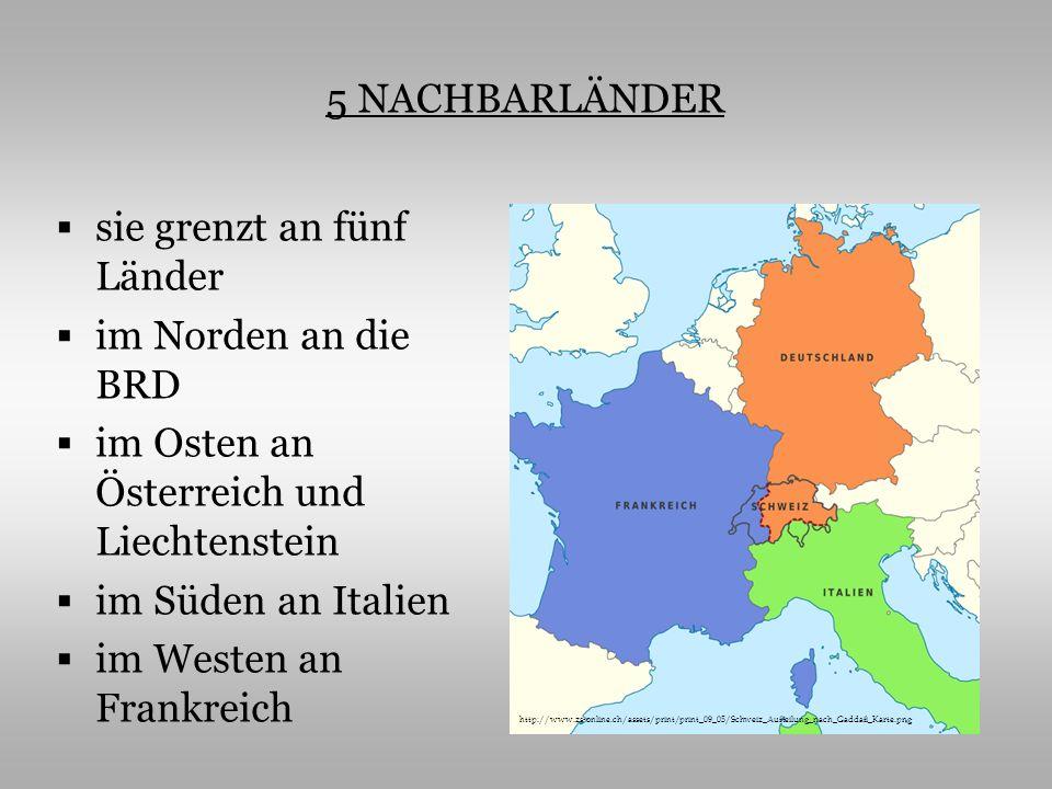 GRUNDINFORMATIONEN die Schweiz ist ein Gebirgsland es gibt hier 3 Hauptlandschaften – Alpen 60%, Mittelland 30% und Jura 10% der höchste Berg – die Dufourspitze im Monte- Rosa-Massiv (4634 m) die bekannten Flüsse – die Rhône, der Rhein und der Tessin (Energie für Kraftwerke) die größten Seen - der Genfer See, der Bodensee, der Neuenburger See, der Züricher See