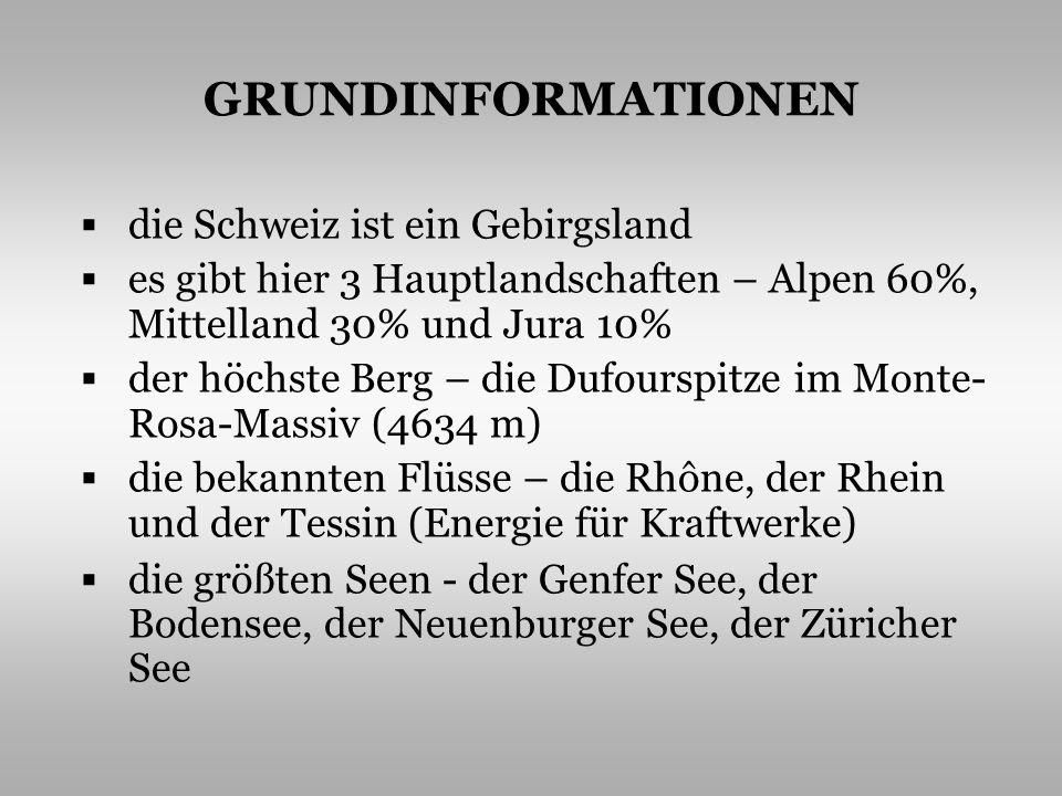 GRUNDINFORMATIONEN die Schweiz ist ein Gebirgsland es gibt hier 3 Hauptlandschaften – Alpen 60%, Mittelland 30% und Jura 10% der höchste Berg – die Du