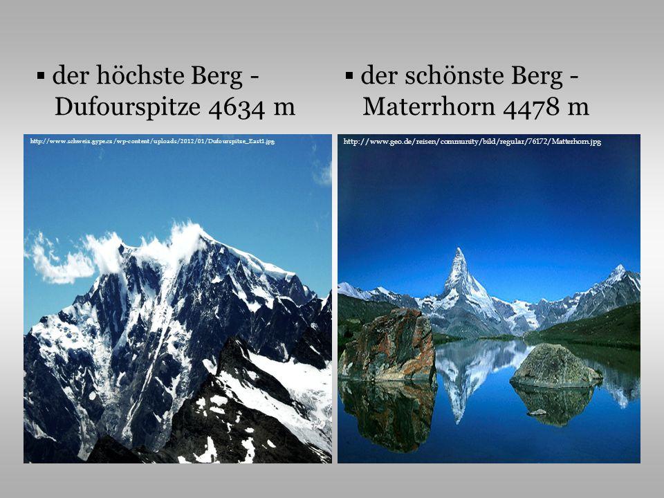 der höchste Berg - Dufourspitze 4634 m der schönste Berg - Materrhorn 4478 m http://www.schweiz.gype.cz/wp-content/uploads/2012/01/Dufourspitze_East1.