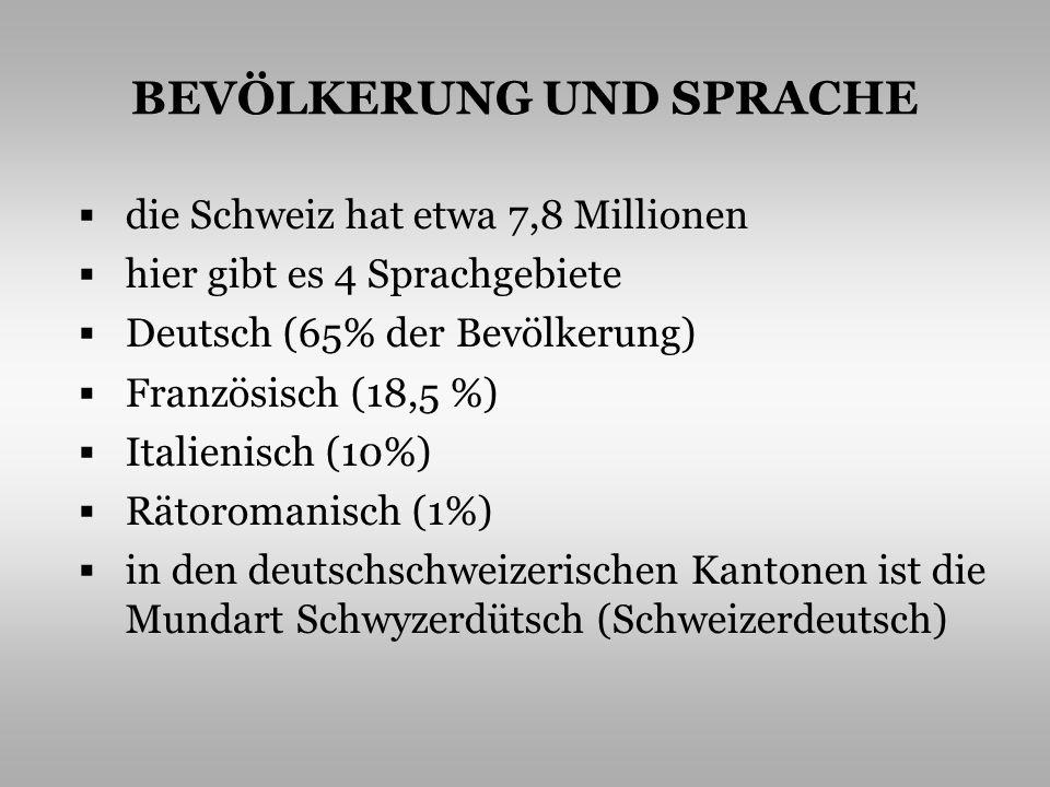 BEVÖLKERUNG UND SPRACHE die Schweiz hat etwa 7,8 Millionen hier gibt es 4 Sprachgebiete Deutsch (65% der Bevölkerung) Französisch (18,5 %) Italienisch