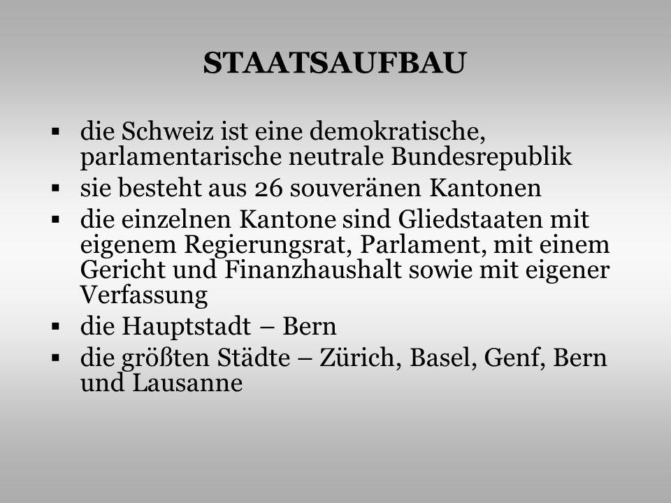 STAATSAUFBAU die Schweiz ist eine demokratische, parlamentarische neutrale Bundesrepublik sie besteht aus 26 souveränen Kantonen die einzelnen Kantone