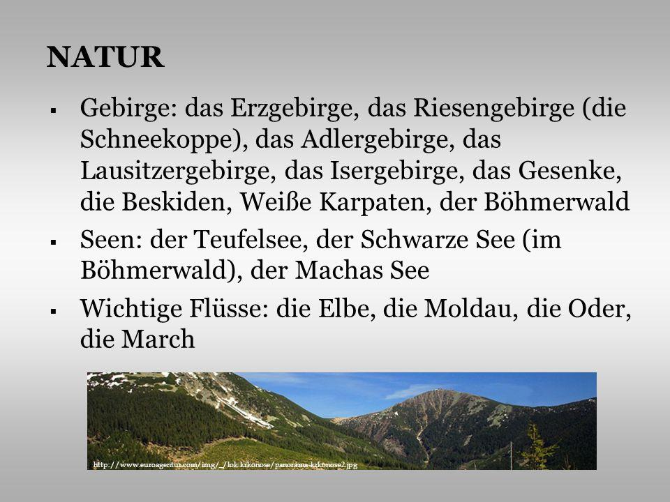 Gebirge: das Erzgebirge, das Riesengebirge (die Schneekoppe), das Adlergebirge, das Lausitzergebirge, das Isergebirge, das Gesenke, die Beskiden, Weiß