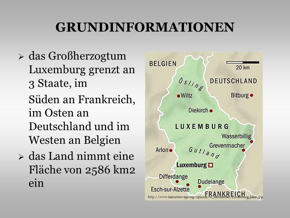 GRUNDINFORMATIONEN das Gebiet ist in zwei geographische Hälften aufgeteilt – in das gebirgige Ardennenplateau und die gewellte Ebene des Gutlandes der höchste Gipfel ist der Kneiff der mächtigste Fluss ist die Mosel der längste Fluss die Sauer das Klima ist mild http://foto.bluecity.cz/61/101699/large_960470.jpg