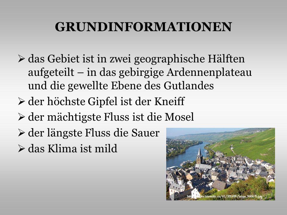 GRUNDINFORMATIONEN das Gebiet ist in zwei geographische Hälften aufgeteilt – in das gebirgige Ardennenplateau und die gewellte Ebene des Gutlandes der