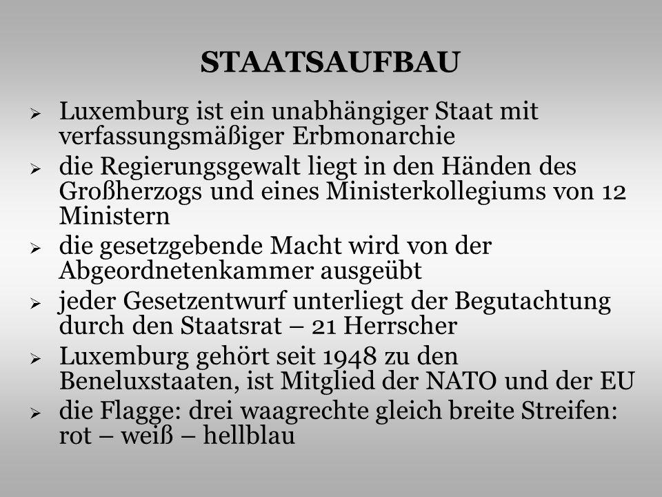 STAATSAUFBAU Luxemburg ist ein unabhängiger Staat mit verfassungsmäßiger Erbmonarchie die Regierungsgewalt liegt in den Händen des Großherzogs und ein
