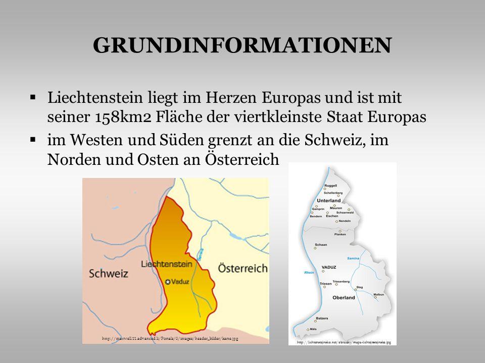 GRUNDINFORMATIONEN Liechtenstein liegt im Herzen Europas und ist mit seiner 158km2 Fläche der viertkleinste Staat Europas im Westen und Süden grenzt an die Schweiz, im Norden und Osten an Österreich http://maxwell.11.advanced.li/Portals/0/images/header_bilder/karte.jpg http://lichtenstejnsko.net/obrazky/mapa-lichtejnstejnsko.jpg