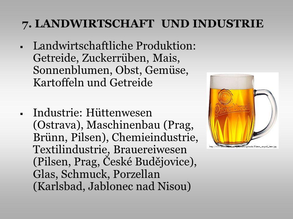 Landwirtschaftliche Produktion: Getreide, Zuckerrüben, Mais, Sonnenblumen, Obst, Gemüse, Kartoffeln und Getreide Industrie: Hüttenwesen (Ostrava), Mas