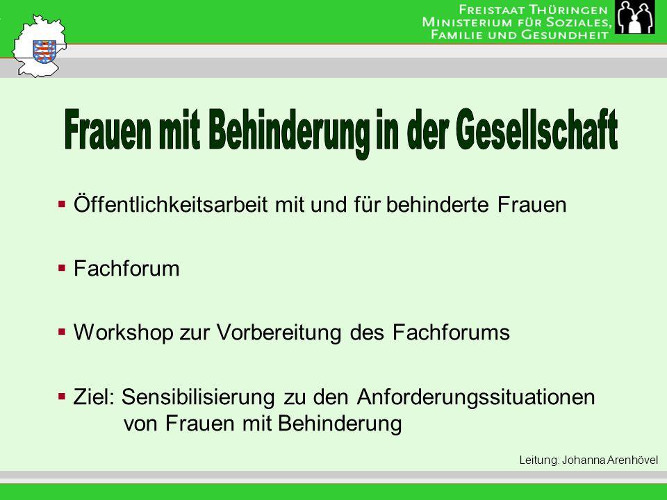 Leitung: Eva Morgenroth Öffentlichkeitsarbeit mit und für behinderte Frauen Fachforum Workshop zur Vorbereitung des Fachforums Ziel: Sensibilisierung zu den Anforderungssituationen von Frauen mit Behinderung Leitung: Johanna Arenhövel