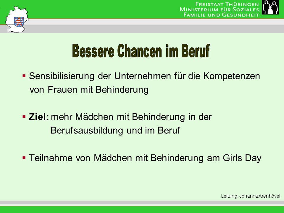 Leitung: Eva Morgenroth Sensibilisierung der Unternehmen für die Kompetenzen von Frauen mit Behinderung Ziel: mehr Mädchen mit Behinderung in der Berufsausbildung und im Beruf Teilnahme von Mädchen mit Behinderung am Girls Day Leitung: Johanna Arenhövel