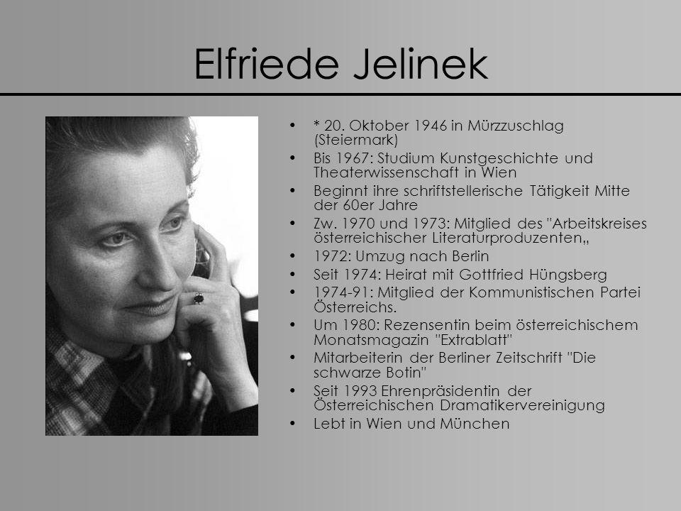 Elfriede Jelineks Werke 1967: Lisas Schatten (Gedichte) 1970: wir sind lockvögel baby.