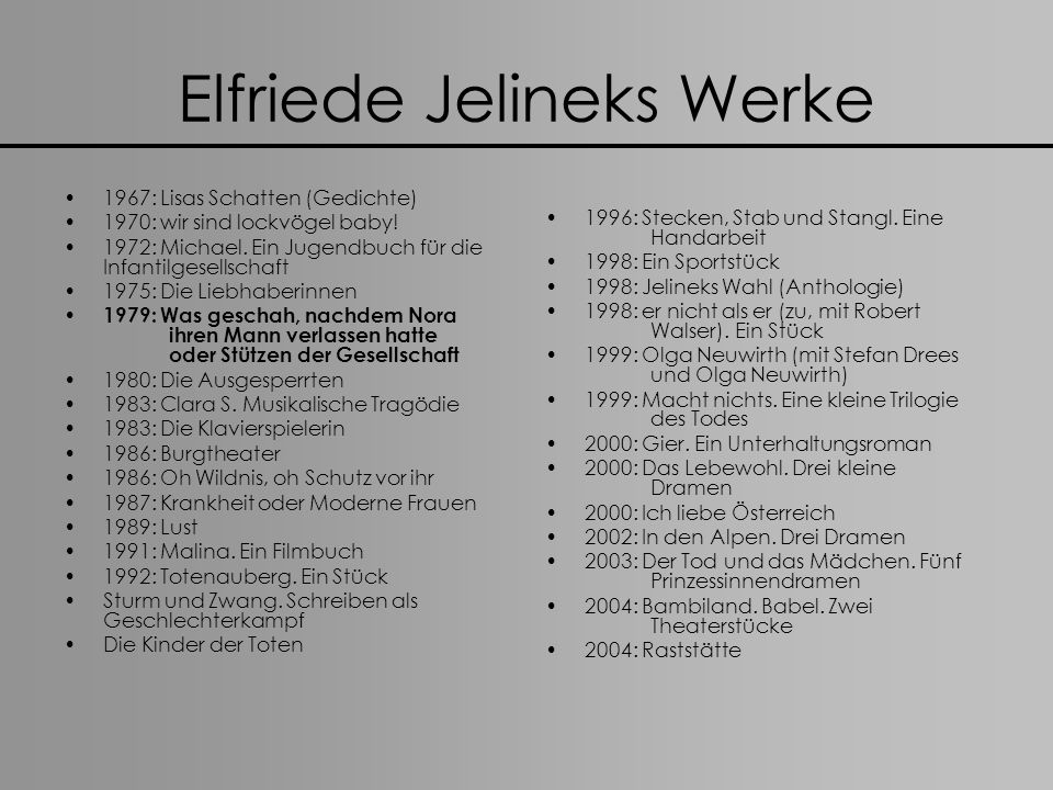 Elfriede Jelineks Werke 1967: Lisas Schatten (Gedichte) 1970: wir sind lockvögel baby! 1972: Michael. Ein Jugendbuch für die Infantilgesellschaft 1975