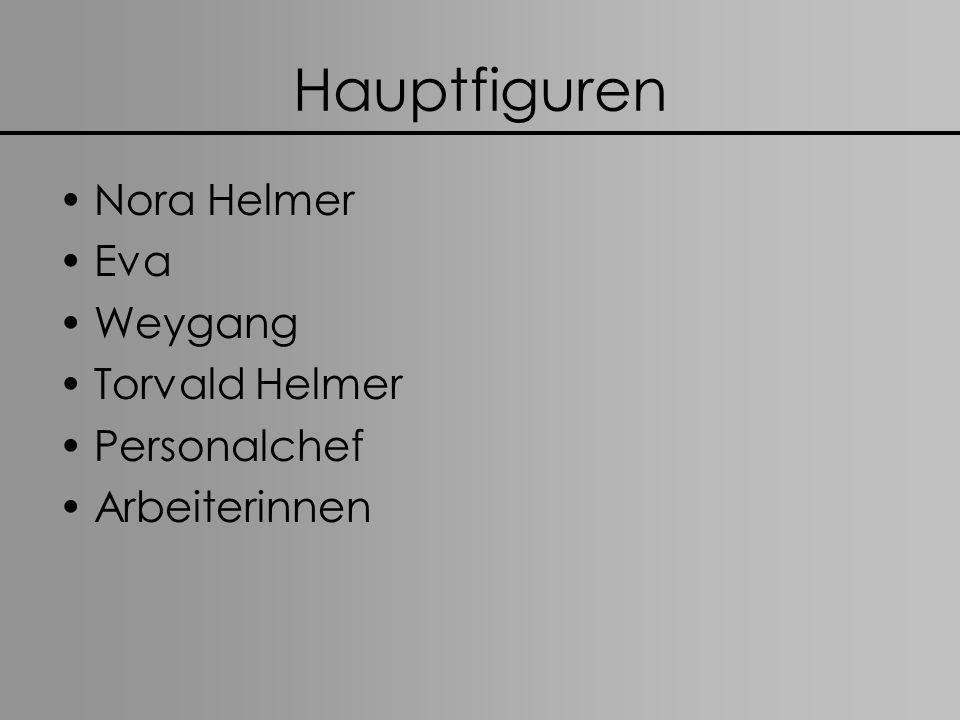Hauptfiguren Nora Helmer Eva Weygang Torvald Helmer Personalchef Arbeiterinnen