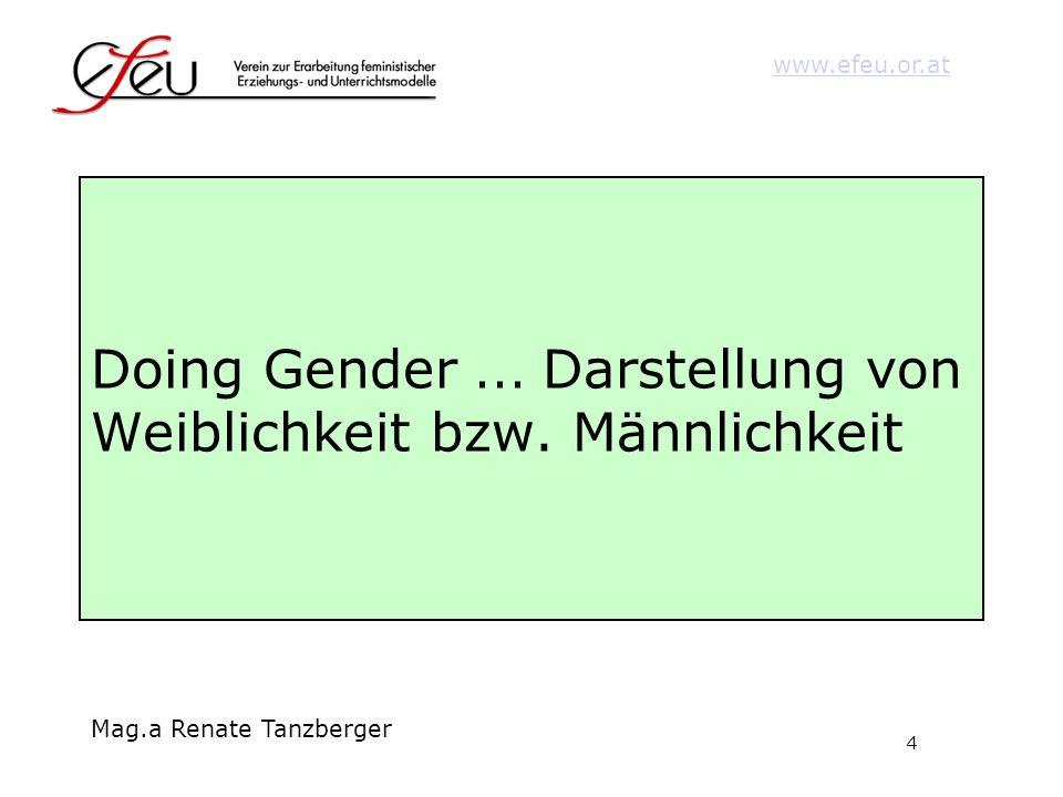 4 www.efeu.or.at Mag.a Renate Tanzberger Doing Gender... Darstellung von Weiblichkeit bzw. Männlichkeit