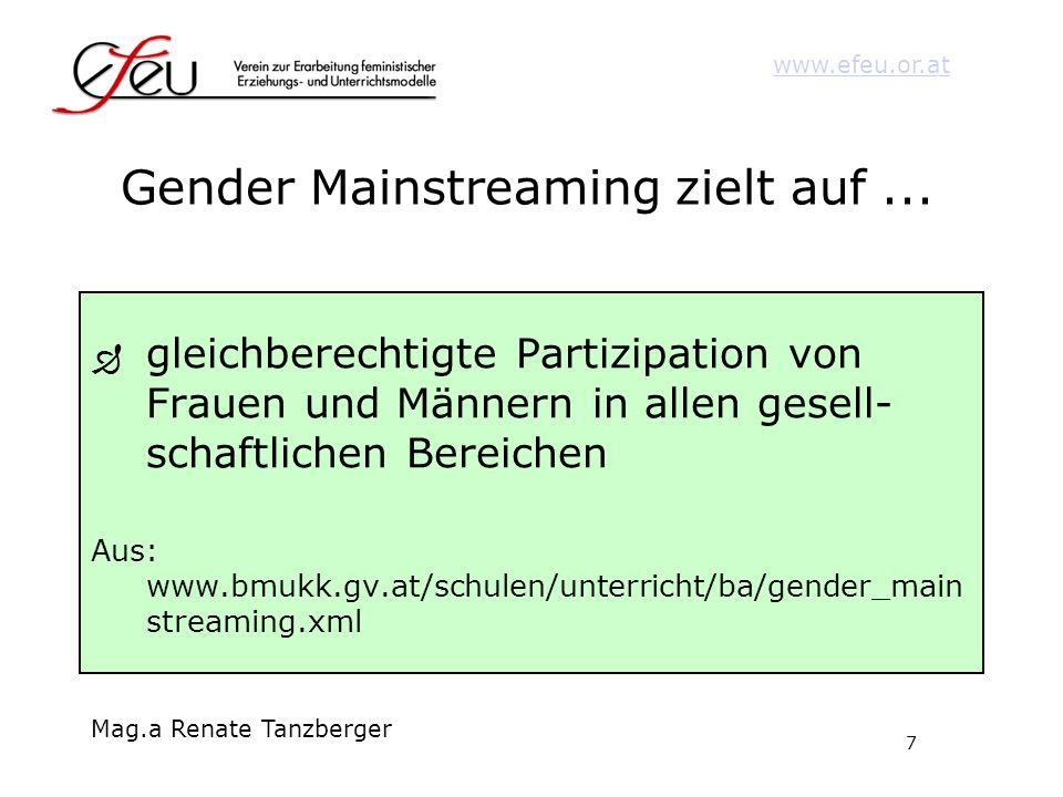 7 www.efeu.or.at Mag.a Renate Tanzberger Gender Mainstreaming zielt auf... gleichberechtigte Partizipation von Frauen und Männern in allen gesell- sch