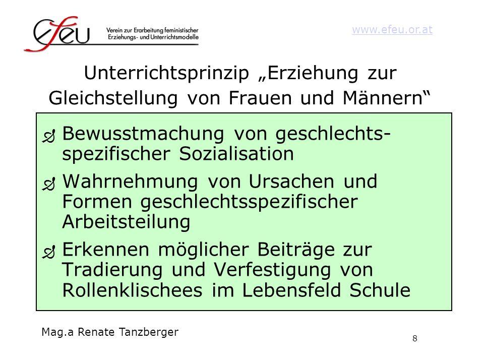 8 www.efeu.or.at Mag.a Renate Tanzberger Unterrichtsprinzip Erziehung zur Gleichstellung von Frauen und Männern Bewusstmachung von geschlechts- spezif
