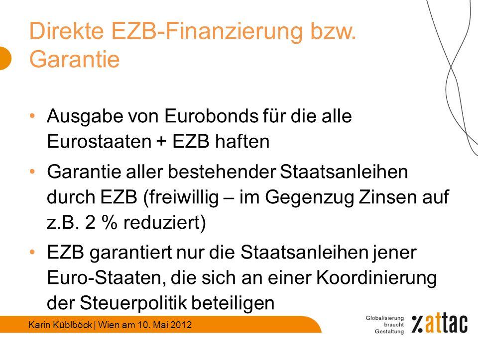 Karin Küblböck | Wien am 10. Mai 2012 Direkte EZB-Finanzierung bzw.