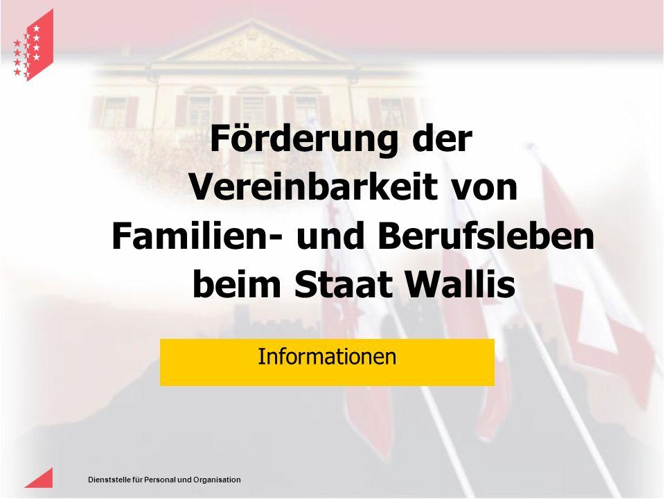 Dienststelle für Personal und Organisation Förderung der Vereinbarkeit von Familien- und Berufsleben beim Staat Wallis Informationen