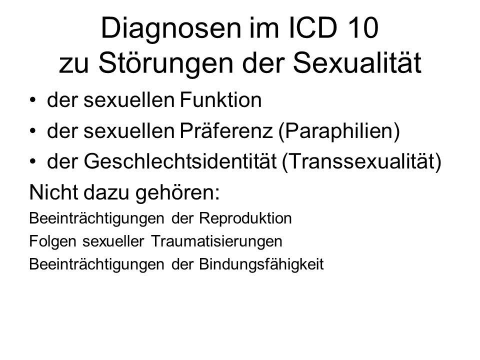 Diagnosen im ICD 10 zu Störungen der Sexualität der sexuellen Funktion der sexuellen Präferenz (Paraphilien) der Geschlechtsidentität (Transsexualität